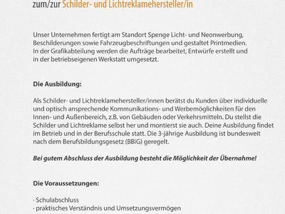 Stellenanzeige: Ausbildung zum/zur Schilder- und Lichtreklamehersteller/in