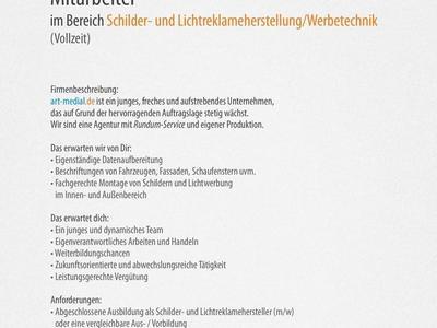 Stellenanzeige: Mitarbeiter für Schilder- und Lichtreklameherstellung/Werbetechnik gesucht